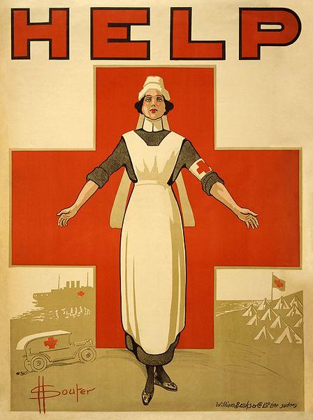 Enfermera preparada con su ambo para la 2° guerra mundial.